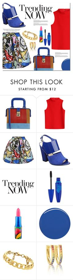 """""""Royal & Red"""" by mslewis6 ❤ liked on Polyvore featuring Dsquared2, Courrèges, Nine West, Maybelline, MAC Cosmetics, Burberry and Juicy Couture"""