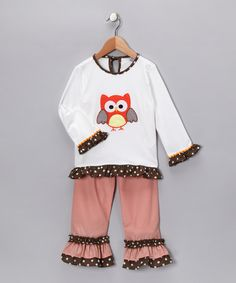 Take a look at this White Owl Top & Ruffle Pants - Toddler & Girls by Sew Childish on #zulily today! #fall