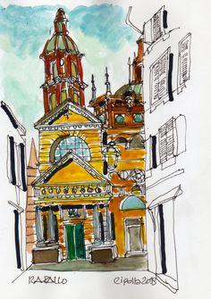 """#watercolor #sketchers #italy #rapallo #liguria #art #paints #urban sketchers . Vista desde un """"vicolo"""" del campanille de la catedral de Rapallo. Liguria. Italia. Acuarela 15x21 cm. en venta en mi sitio . Produccion 2019."""