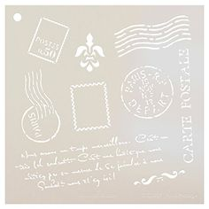 "AmazonSmile: Paris Postage Stencil by StudioR12 | French Travel Elements - Medium Reusable Mylar Template | Painting, Chalk, Mixed Media | Use for Crafting, DIY Home Decor - STCL367 | SELECT SIZE (6"" X 6"")"