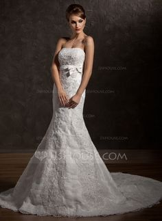 Wedding Dresses - $227.99 - Mermaid Strapless Chapel Train Satin Tulle Wedding Dress With Ruffle Lace Beadwork (002012838) http://jjshouse.com/Mermaid-Strapless-Chapel-Train-Satin-Tulle-Wedding-Dress-With-Ruffle-Lace-Beadwork-002012838-g12838?ver=xdegc7h0