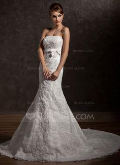 Wedding Dresses - $227.99 - Mermaid Strapless Chapel Train Satin Tulle Wedding Dress With Ruffle Lace Beadwork (002012838) http://jjshouse.com/Mermaid-Strapless-Chapel-Train-Satin-Tulle-Wedding-Dress-With-Ruffle-Lace-Beadwork-002012838-g12838