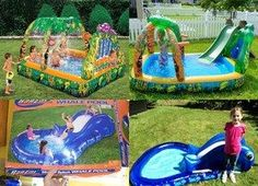 Paddling pools: expectation vs reality. Children's paddling pools look amazing in the pictures on the boxes but come and laugh at the contrasting pictures of what they actually look like when inflated