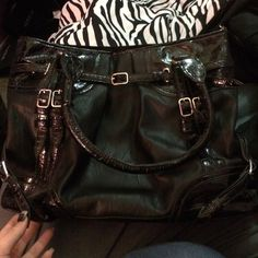 Black Shoulder Bag Black faux leather bag. Has three compartments and three pockets. Zips shut. Great condition. Bags Shoulder Bags