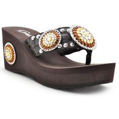 Roaring Topaz Rhinestone Brown Wedge by Grazie Footwear