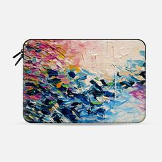 PARADISE DREAMING - Chic Colorful Pastel Pink Blue Turquoise White Ocean Waves Tropical Coastal Spring Summer Splash Nautical Nature Fine Art Textural Abstract Acrylic Painting  - Macbook Sleeve