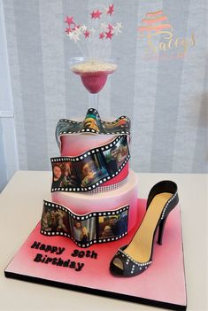 Pink 30th birthday cake with sugar show and edible film reels
