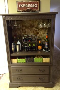 Up-cycled, repurposed, refurbished Furniture. I turned my old Armiore into a mini bar/wine cabinet!