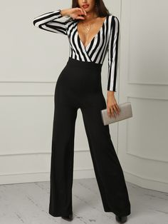 Off Shoulder Striped Splicing Belted Jumpsuits jumpsuit outfit jumpsuit casual jumpsuit for women jumpsuit jumpers jumpsuit outfit fal - Jumpsuits and Romper Backless Jumpsuit, Jumpsuit Outfit, Casual Jumpsuit, Striped Jumpsuit, Black Jumpsuit, Romper Pants, Plus Size Formal Jumpsuit, Jumper Outfit Jumpsuits, Cotton Jumpsuit