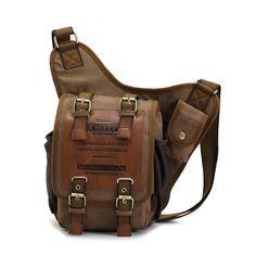 APG Crossbody Bag Canvas Leather Shoulder Bag Military Messenger Bag for School, Travel and Hiking Satchel