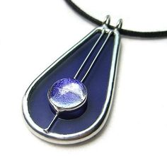 stained glass with dichroic cabochon by Lingglass