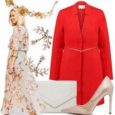 Le sfumature calde dell'autunno definiscono con eleganza il long dress d''ispirazione boho chic. Lo stile viene sottolineato con raffinatezza dal cerchietto a fiori in oro e perle. D'obbligo, per la stagione frizzante, un capospalla e il cappottino rosso risalta completando il vestito giocando con il colore. La clutch off white, gli orecchini e la décolleté platino mantengono la luminosità dell'outfit da cerimonia per un effetto finale raggiante.