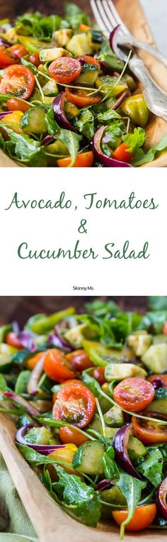 Summertime is a great time to enjoy a refreshing Avocado, Tomatoes & Cucumber Salad that takes only minutes to prepare!  #avocado #tomatoes #cucumbersalad