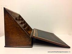 Oggettistica d`epoca - Oggetti in legno Porta lettere da tavolo con scrittoio - Portacarte da scrivania in rovere Immagine n°1