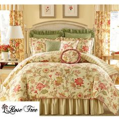 This Pacific Floral bedding set will make a wonderful addition to any bedroom. This comforter set showcases a multicolor pale yellow floral and thin stripe accented with stunning green embroidered fabric accents.