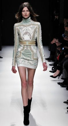 Balmain. Baroque print dress with studs. Collection Fall / Winter 2012 - 2013.