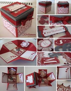 Invitation folds into a box. Explosion Box, Exploding Box Card, Diy And Crafts, Paper Crafts, Diy Gifts For Him, Pop Up Cards, Diy Box, Diy Cards, Cardmaking