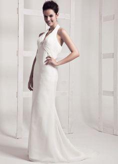 Halter Neck Chiffon Fashion Beatch Wedding Dress