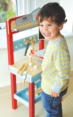 Little Carpenters Wooden Toy Workbench Imaginative Play - Indigo Jamm Toddler Workbench, Teaching Clock, Tool Bench, Screws And Bolts, Raising Boys, Dramatic Play, Imaginative Play, Carpenter, Kids Playing