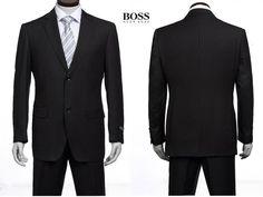 Hugo Boss Two Button Suit Vertical Stripe Black 45