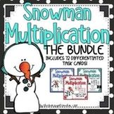 Multi Digit Multiplication Bundle - Snowman Theme
