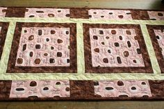 Quilted table runner  Chocolate themed table by RedNeedleQuilts, $55.00