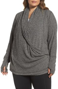 Plus Size Women's Zella Enlighten Me Ribbed Cardigan #plussize #sweater #gray #grey #nordstrom #zella Great for running to and from the studio, this flattering wrap-front cardigan offers a longer length and thumbhole cuffs to keep you covered and comfortable. afflnk