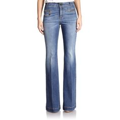 Stella McCartney The 70s Flared Jeans ($380) ❤ liked on Polyvore featuring jeans, apparel & accessories, blue whale, stella mccartney jeans, chain jeans, zipper jeans, flare jeans and flared jeans