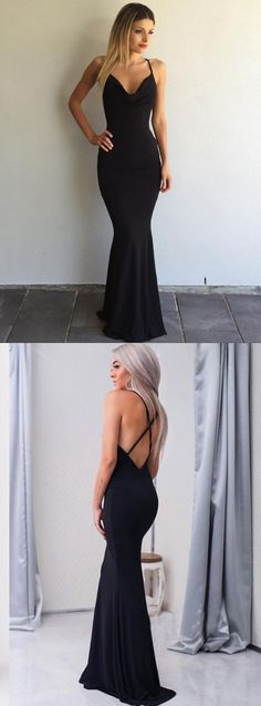Black Sleeveless Long Prom Dress,Sexy Spaghetti-Strap Cross-Back Mermaid Prom Dress · lovingdress · Online Store Powered by Storenvy