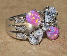 pink fire opal Cz white topaz ring gemstone silver jewelry Sz 7.75 chic Flower H