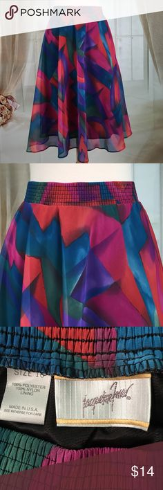 Jacqueline Ferrar Multi Colored Skirt Today, featuring in Kaki Jo's closet is this beautiful multi colored skirt.  Elastic waistband.  New condition.  Size 16. Jacqueline Ferrar Skirts