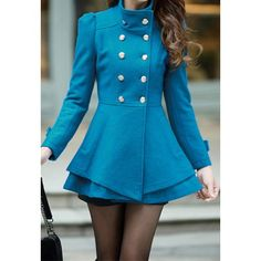 Elegant OL Style Stand Collar Multi-layer Double Breast Warm Worsted Coat f