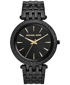 Michael Kors Women's Darci Black Ion-Plated Stainless Steel Bracelet Watch 39mm MK3337 - Watches - Jewelry & Watches - Macy's