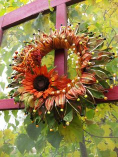 I wanted to create a pretty something for the front door to welcome autumn.  This idea has been brewing in the back of my mind for some tim...