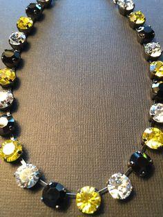 Pittsburgh ��Penguins ��Pirates Black & Gold Swarovski Crystals In Silver
