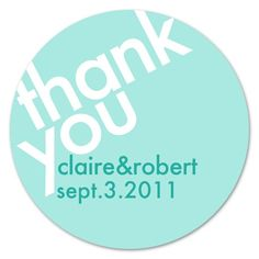 Personalized Modern Wedding Favor Thank You Stickers Labels (24). $5.00, via Etsy.