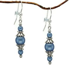 Jewelry by Dawn Round Blue Glass Beads With Pewter Accents Dangle Earrings   Overstock.com Shopping - The Best Deals on Crystal, Glass & Bead Earrings