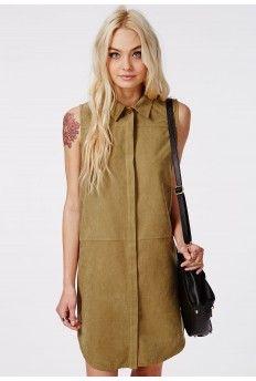 Peach Skin Sleeveless Shift Shirt Dress Khaki