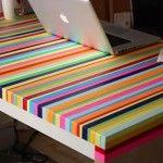 DIY rainbow desk : Washi Tape Crafts