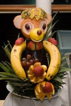 food sculpture, foods, carv detail, veget carv, food carving, cruis, fruit art, food art, monkey