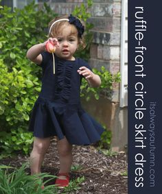 Ruffle Front Circle Skirt Dress from it'salwaysautumn - this is a GREAT tutorial that covers pattern drafting, sewing with knits, ruffles, and incorporates a circle skirt - she ALSO uses up-cycled t-shirts!  - Love it!
