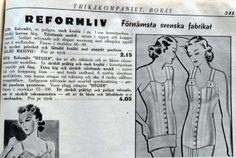 "Ad for ""reformliv"" i.e. reform waists, from Tikårkompaniet in Borås, Sweden 1940"