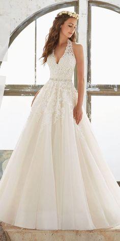 a1b5c6571259 White halter wedding dress,v neck wedding dress,bride dress with applique