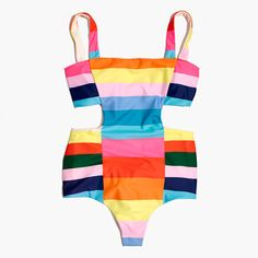 Madewell Womens Mara Hoffman Cutout-Side One-Piece Swimsuit In Vela Print (Size S, Rainbow Multi) Swimsuits, Swimwear, Look Cool, Lingerie, Bunt, One Piece Swimsuit, Madewell, Bathing Suits, Beachwear
