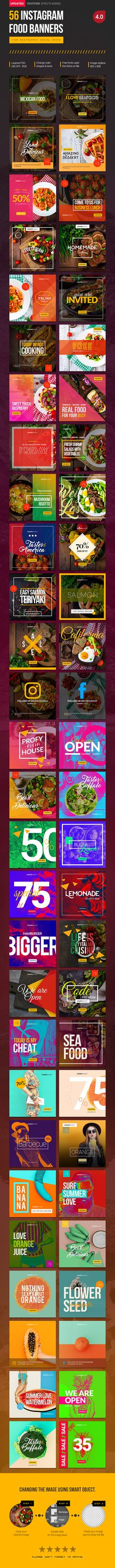 Instagram food banners for restaurant pages. Can be used for various food business, such as restaurant, cafe, fast food services and etc. Very easy to change colour variations, photos and elements.