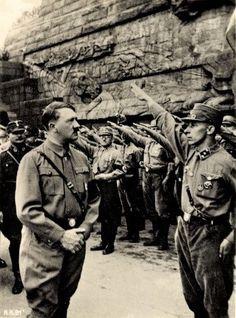 Hitler and Roehm at the Völkerschlachtdenkmal in 1933.