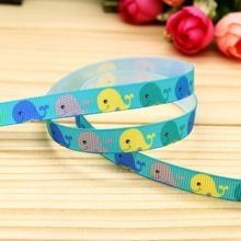 3/8'' Free shipping whale printed grosgrain ribbon hair bow headwear party decoration wholesale OEM 9mm H5235(China (Mainland))