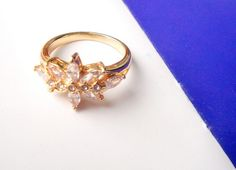 Fashion jewelry 18k Yellow Gold Plated engaged crystal ring new gift for lady