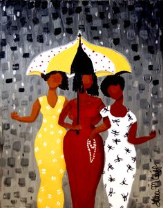 Three staying dry under the umbrella