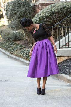 Oyin Styled Me - Purple full midi skirt + box braid bun
